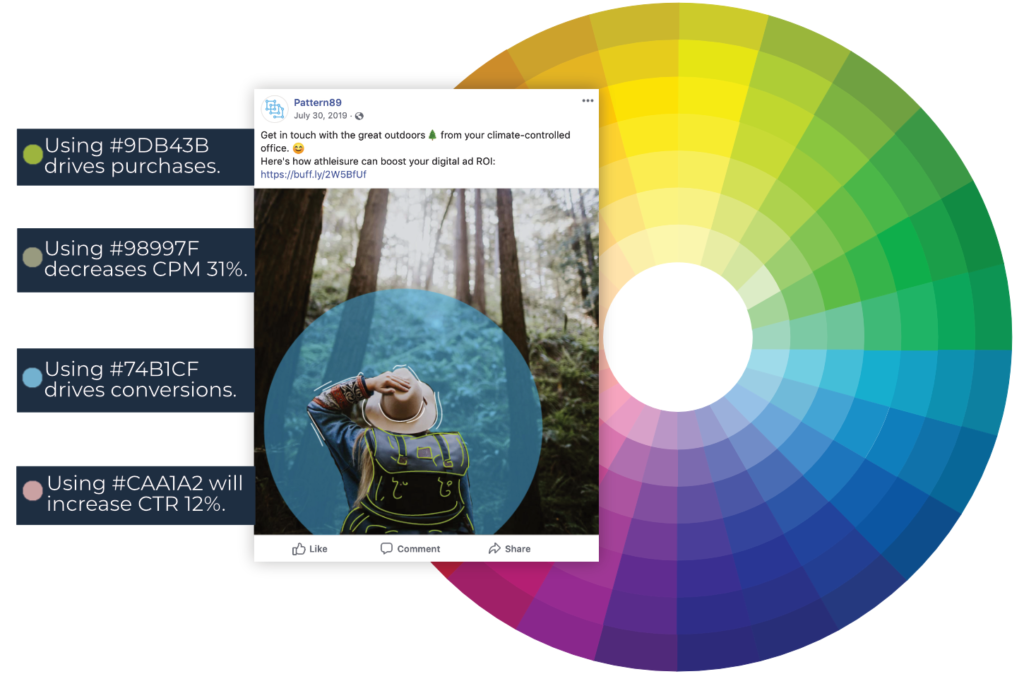A color audit can determine what exact hues drive performance for your dynamic creative ads.